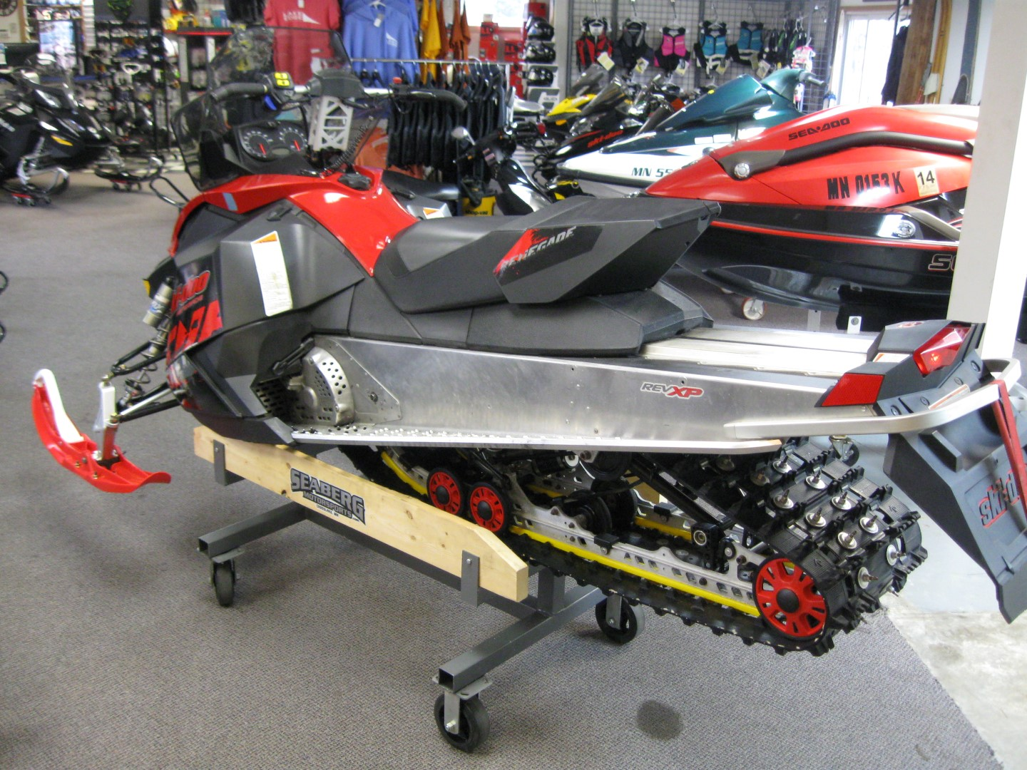 2011 Ski-Doo Renegade 800 XP snowmobile for sale Maple grove MN Seaberg motorsports left rear quarter red black