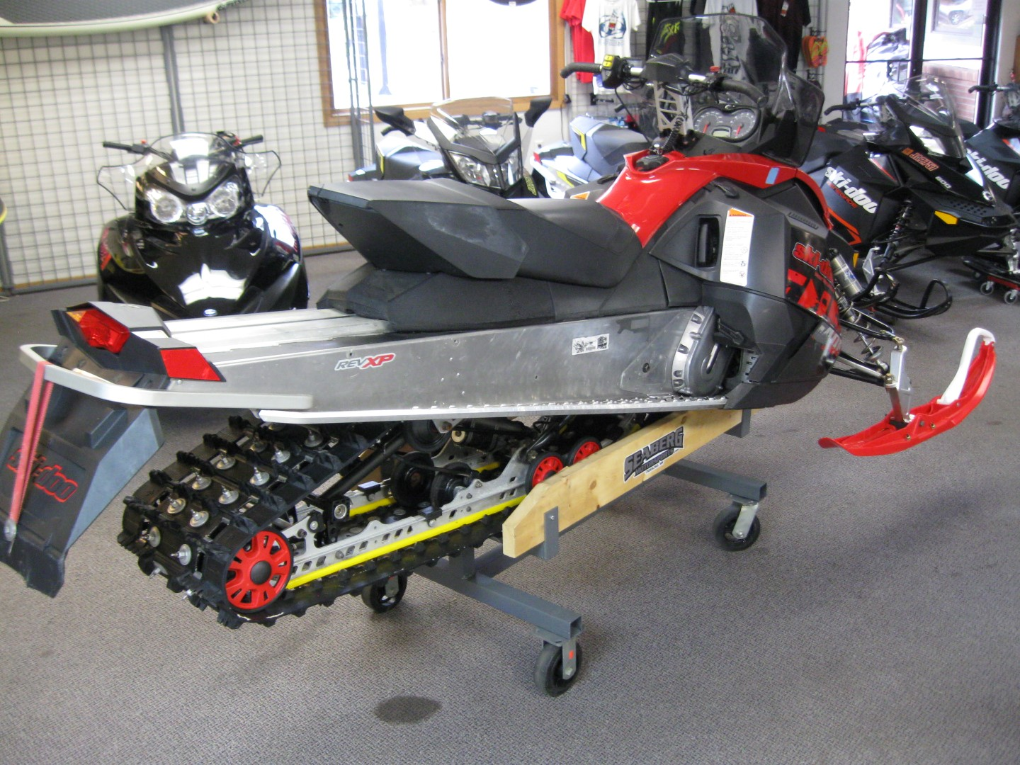 2011 Ski-Doo Renegade 800 XP snowmobile for sale Maple grove MN Seaberg motorsports Rear Quarter View black and red